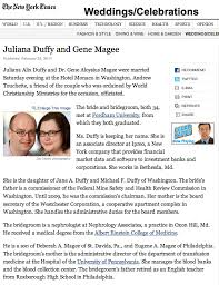 new york times weddings juliana gene new york times wedding announcement