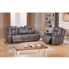 galaxy grey top grain leather lay flat reclining sofa and recliner
