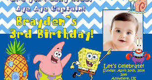 spongebob birthday invitations alesi info