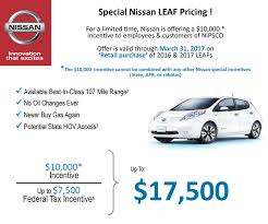 nissan leaf lease offers 10 000 incentive on nissan leaf to nipsco employees u0026 customers
