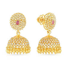 malabar earrings malabar gold diamonds 22kt yellow gold jhumki earrings for women
