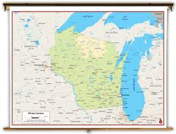 Wisconsin Rapids Map by Wisconsin State Physical Classroom Map From Academia Maps