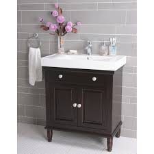 Narrow Double Doors Interior Small Black Wooden Vanity With Double Door Storage And White Sink