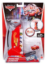 cars sally and lightning mcqueen amazon com cars micro drifters rapid fire launcher lightning