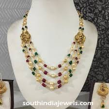 gold beaded necklace images Gold beaded necklace with side mogappu south india jewels jpg
