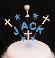 communion cake toppers personalised boys communion name cake topper blue