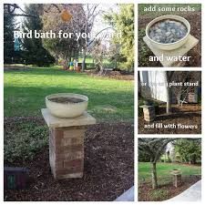 Flower Pot Bird Bath - make your own bird bath or plant stand supplies needed 28 bricks