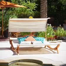 Double Chaise Lounge Chair Canopy Lounge Chair Teak Wood Garden Pool Techethe Com
