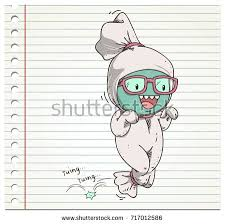 doodle pocong sketch color on paper stock vector 717012586