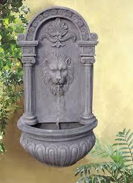 solar fountains with lights lion head solar on demand wall fountain with led light 179 solar