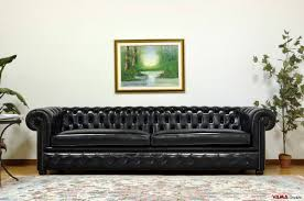 Chesterfield Sofa With Vintage Brassplated Studs - Sofa in leather