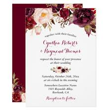 wedding invatations burgundy marsala floral chic fall wedding card zazzle