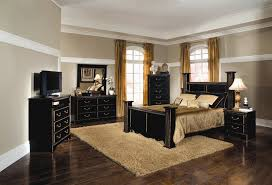 Gold And Black Bedroom by Kingsley 6 Piece Bedroom Set In Black With Brushed Gold Finish By