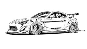 cartoon sports car black and white matthew law automotive design consultancy