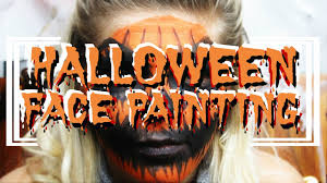 easy scary pumpkin halloween face painting youtube