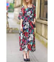 floral kaftan dress squared neckline kimono style sleeves