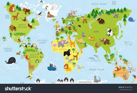 Atlantic Ocean On A World Map by Funny Cartoon World Map Traditional Animals Stock Vector 360862022