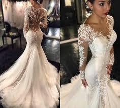 robe mariã e manche longue forme fourreau robe de mariée élégante manche longue dentelle