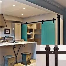 Sliding Kitchen Doors Interior 7 5 Ft American Barn Door Hardware Sliding Two Door Black Steel