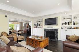 recessed lighting over fireplace san francisco soffit ceiling living room craftsman with tv above