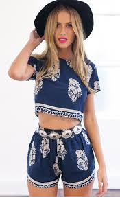 matching sets navy blue floral crop top and shorts matching sets lilly closet