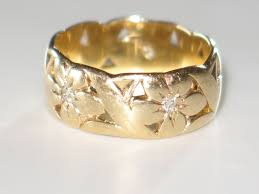 carved wedding band artcarved wide vintage wedding band with diamonds and 14k yellow