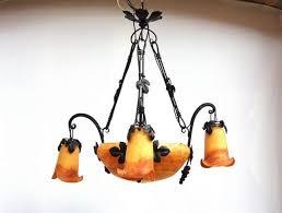 Art Nouveau Lighting Chandelier Art Nouveau Style Chandelier Blown Glass Wrought Iron Oled
