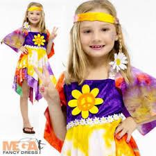 Halloween Costumes 70s Daisy Hippie Girls Fancy Dress 1960s 1970s Kids Childrens 60s 70s