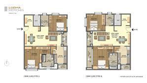 2 Bhk Floor Plans Lodha Meridian Master Layout U0026 Unit Plans For 2 U0026 3 Bed Residences