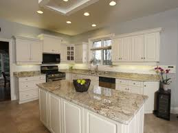 Dark Kitchen Cabinets With Light Granite Granite Countertop Repainting Cabinet Doors Fix Faucet Leak Sink