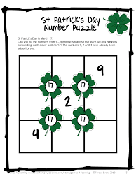 st patricks day writing paper fun games 4 learning st patrick s day math freebies this st patrick s day math puzzle with really get them thinking as they add the missing numbers from 1 9 so that they can make the squares surrounding each