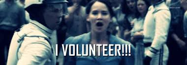 I Volunteer Meme - volunteer as tribute for the 1st annual mockingday