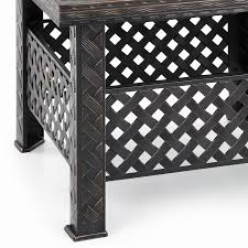 ikayaa new metal backyard fire pit patio rectangular garden
