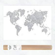 carte du monde affiche  géant Coloriage  carte Voyage  plan de