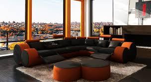 orange leather sectional sofa divani casa 3087 modern black and orange leather sectional sofa