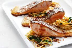 fish cuisine chilli soy salmon with wok fried noodles
