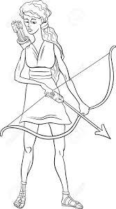 black and white cartoon illustration of mythological greek goddess