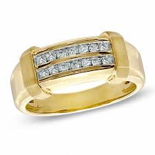 gold wedding band mens men s 1 5 ct t w diamond row wedding band in 10k gold