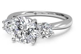 diamond rings round images Round cut three stone diamond engagement ring in platinum 0 50 ctw PNG