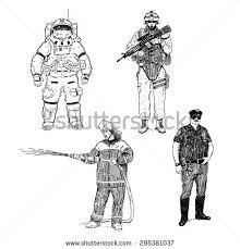 astronaut soldier fireman policeman hand drawn stock vector