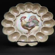 vintage deviled egg plate lustreware deviled egg plate colorful rooster in center