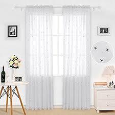 3 Inch Rod Pocket Sheer Curtains Amazon Com Deconovo Sheer Curtains White Sheer Curtains Rod