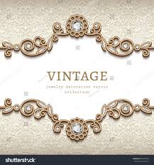 Jewellery Invitation Card Vintage Card Diamond Jewelry Decoration Gold Stock Vector