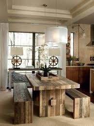 reclaimed wood dining room rustic furniture with drum pendant