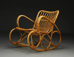 Cane Rocking Chair Danish Bamboo Cane Rocking Chair From 1950 Designer Unknown