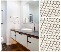 Bathrooms By Design Moddotz Marshmallow White Porcelain Penny Round Tile Used To