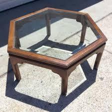ethan allen glass coffee table ethan allen vintage hexagon coffee table w glass loveseat vintage