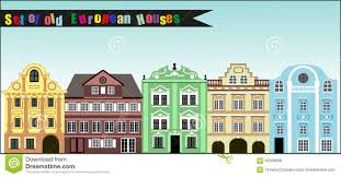 european houses set of old colourful european houses stock vector image 62508698