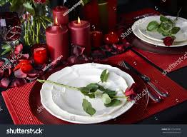 Romantic Table Settings Romantic Valentine Candle Light Dinner Two Stock Photo 373516030