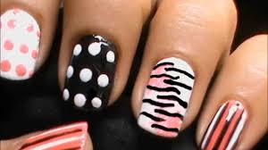 zebra nails with polka dots short nails nail art designs how to